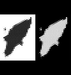dot halftone greek rhodes island map vector image