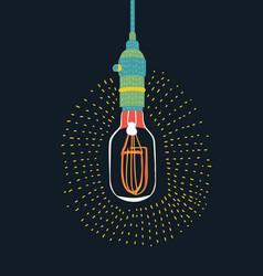 edison light bulb on dark design element vector image