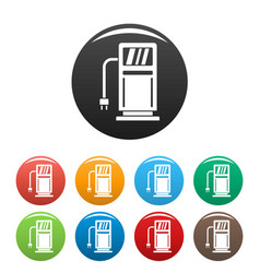 electric recharge station icons set color vector image
