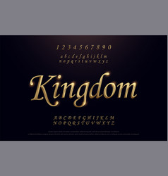 elegant golden colored metal chrome alphabet font vector image