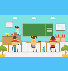 elementary school students studying in classroom vector image