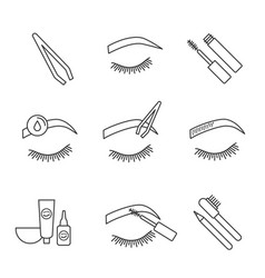 Eyebrows shaping linear icons set vector