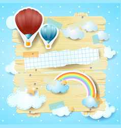 fantasy panel with hot air balloons and copy space vector image