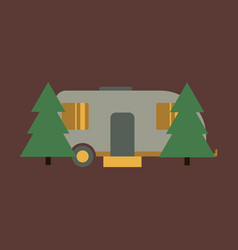 flat icon trailer in forest vector image