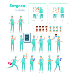 flat surgeon doctor animation creation set vector image