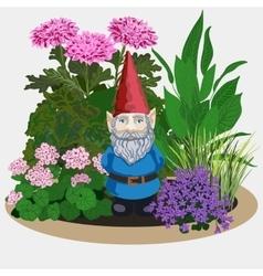 Garden gnome at plants vector