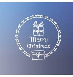 gift with bow white icon doodle christmas vector image