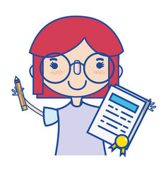 girl with notebook and hairstyle design vector image
