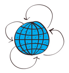 Globe and arrow icon with a black outline on a vector