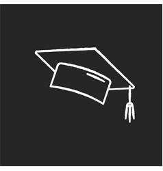 Graduation cap chalk white icon on black vector