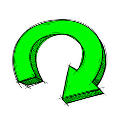 Green arrow down circle sign colored doodle vector