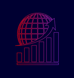 growing graph with earth line icon with vector image vector image