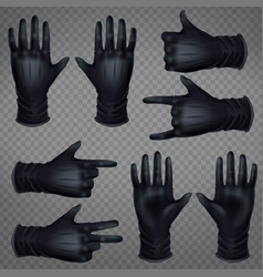 hand in gloves shoving gestures realistic vector image
