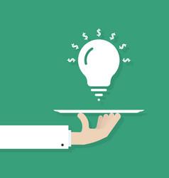 Hand serving idea bulb vector