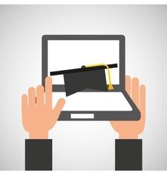 Hands holds laptop-online education graduation vector
