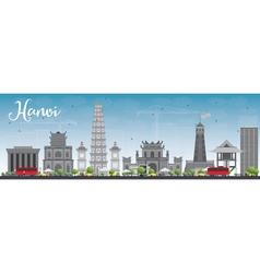 Hanoi skyline with grey Landmarks vector