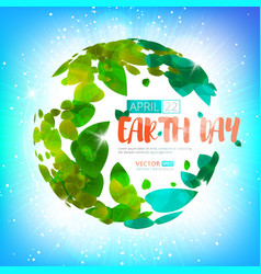 happy earth day earth globe with green vector image