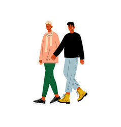 Happy gay male couple two men holding hands vector