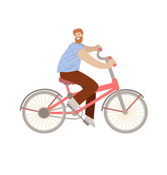 Happy hipster man ride a city bike smiling happy vector