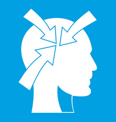 Head with arrows icon white vector