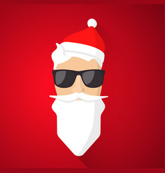 Hipster santa claus with cool beard and glasses vector