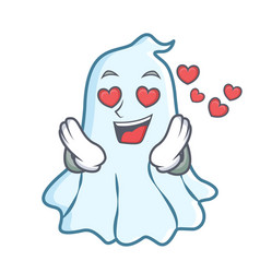 in love cute ghost character cartoon vector image