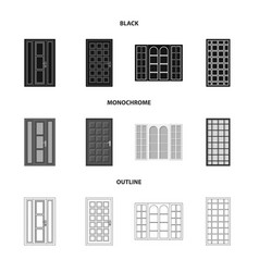 isolated object of door and front icon collection vector image