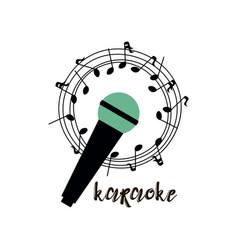 Isolated on white karaoke emblem logo flyer with vector