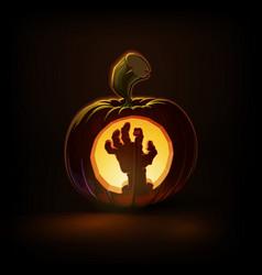 Jack-o-lantern dark zombie hand vector