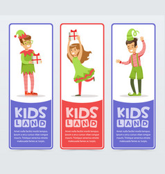kids land banners set cute boys and girls in vector image