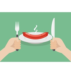 Knife and fork cutlery in hands with sausage vector