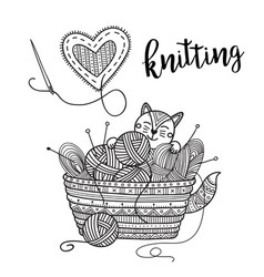 Knitting theme card with cute cat and lettering vector