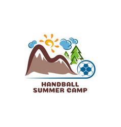 logo handball summar camp fun cartoon vector image