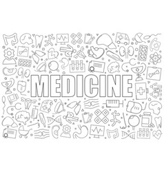 medicine from line icon with word vector image