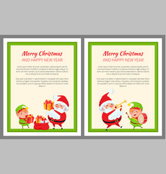 merry christmas happy new year two light poster vector image