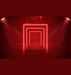 Neon show light podium red background scene vector