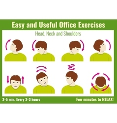 Office syndrome infographic exercises vector