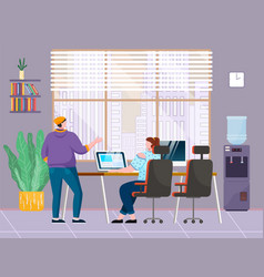 office workers chats in office guy stands girl vector image