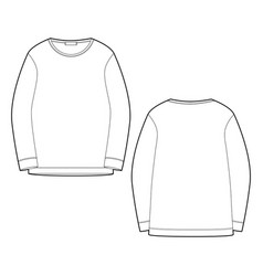 Outline technical sketch sweatshirt isolated on vector