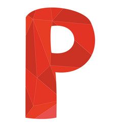 P red alphabet letter isolated on white background vector