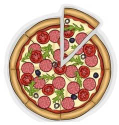 Pizza with salami color picture sticker vector