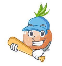 Playing baseball raw onions in a cartoon box vector