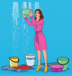 Pop art woman holding bucket and collecting water vector