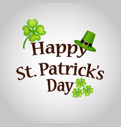 Poster st patrick hat with clover and cylinder vector