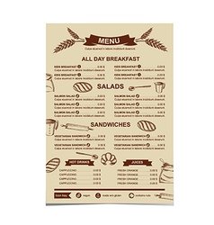 Restaurant menu Bakery and cafe vector