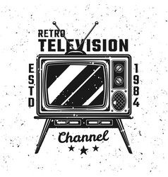 Retro tv channel vintage emblem with text vector