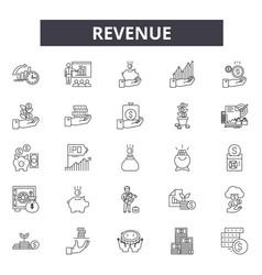 Revenue line icons signs set linear vector