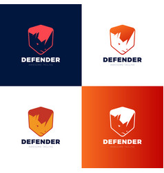 rhino shield security logo template icon vector image