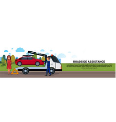 Roadside assistance towing broken car over driver vector