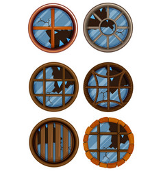 round windows with broken glass vector image